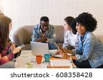 happy young multiracial group... | Shutterstock . vector #608358428