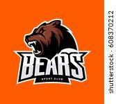 furious bear sport vector logo... | Shutterstock .eps vector #608370212