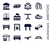 park icons set. set of 16 park... | Shutterstock .eps vector #608373242