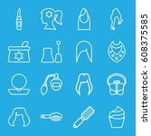 glamour icons set. set of 16... | Shutterstock .eps vector #608375585