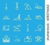 landscape icons set. set of 16... | Shutterstock .eps vector #608376662