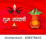shubh navratri hindi text... | Shutterstock .eps vector #608378642