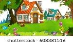 cartoon scene of traditional...   Shutterstock . vector #608381516