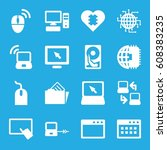 pc icons set. set of 16 pc... | Shutterstock .eps vector #608383235