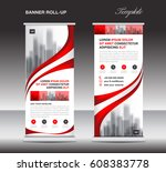 red roll up banner  stand... | Shutterstock .eps vector #608383778