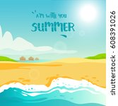 summer vacation at the tropical ... | Shutterstock .eps vector #608391026