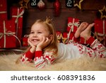 merry christmas and happy... | Shutterstock . vector #608391836