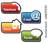 Vector banners - telephone, email, home, forum - stock vector