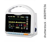 Stock photo vital signs monitor device isolated on white background medical diagnostic equipment capnography 608399156