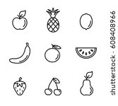 fruits line icons set black on... | Shutterstock .eps vector #608408966