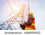 engineering working on high... | Shutterstock . vector #608409452