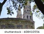 catedral and rotonda de heroes... | Shutterstock . vector #608410556