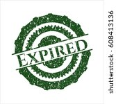 green expired distressed rubber ... | Shutterstock .eps vector #608413136