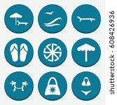 set of 9 sun filled icons such... | Shutterstock .eps vector #608426936