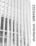 Small photo of NEW YORK CITY - 1 OCTOBER 2016: Architectural detail of vertical lines, interior of The Oculus, Santiago Calatrava's light and airy transportation centre for the overground and underground trains. BW.