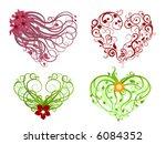 hearts   floral grunge design | Shutterstock .eps vector #6084352