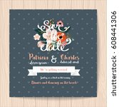 wedding invitation card with...   Shutterstock .eps vector #608441306