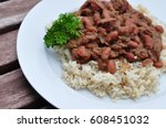 red beans and rice | Shutterstock . vector #608451032