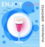 purple layered exotic cocktail... | Shutterstock .eps vector #608454932