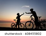 silhouette lovely family at... | Shutterstock . vector #608455802