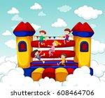 children bouncing on rubber... | Shutterstock .eps vector #608464706