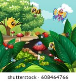 different types of insects in... | Shutterstock .eps vector #608464766