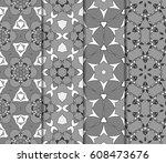 set of geometric pattern in... | Shutterstock .eps vector #608473676