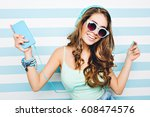 portrait happy summer mood of... | Shutterstock . vector #608474576