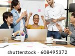 group of businesspersons having ... | Shutterstock . vector #608495372