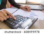 close up accountant or banker... | Shutterstock . vector #608495978
