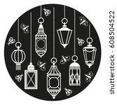 hanging lamps | Shutterstock .eps vector #608504522