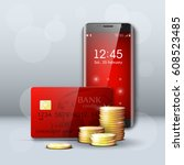 mobile phone  credit card  gold ...   Shutterstock .eps vector #608523485