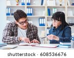 young student during individual ... | Shutterstock . vector #608536676