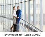 couple in love on vacation.... | Shutterstock . vector #608536982