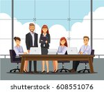business people having board... | Shutterstock .eps vector #608551076