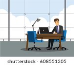 businessman is working with... | Shutterstock .eps vector #608551205