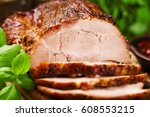 roast pork with herbs and... | Shutterstock . vector #608553215