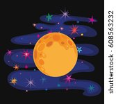 full moon and colorful stars.... | Shutterstock .eps vector #608563232