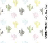 hand drawn cactus print | Shutterstock .eps vector #608567462