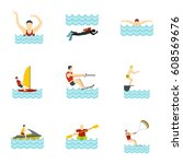 water activities icons set.... | Shutterstock . vector #608569676