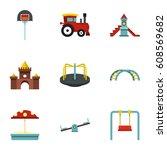 playground equipment icons set. ... | Shutterstock . vector #608569682