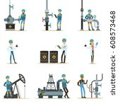 happy people working in oil... | Shutterstock .eps vector #608573468
