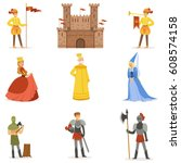 medieval cartoon characters and ... | Shutterstock .eps vector #608574158