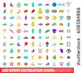 100 sport recreation icons set... | Shutterstock . vector #608584886