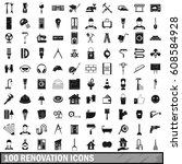 100 renovation icons set in... | Shutterstock . vector #608584928