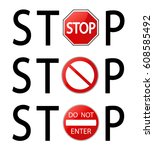 stop sign vector illustration... | Shutterstock .eps vector #608585492