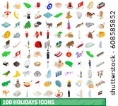 100 holidays icons set in... | Shutterstock . vector #608585852