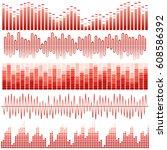 vector set of red sound waves.... | Shutterstock .eps vector #608586392