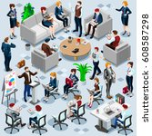 people isometric 3d  the big... | Shutterstock . vector #608587298