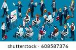 people isometric 3d  the big... | Shutterstock . vector #608587376